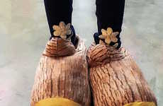 Faux Timber Footwear - These VEASOON Wood Stump Unisex Slippers Look Tough But Act Soft