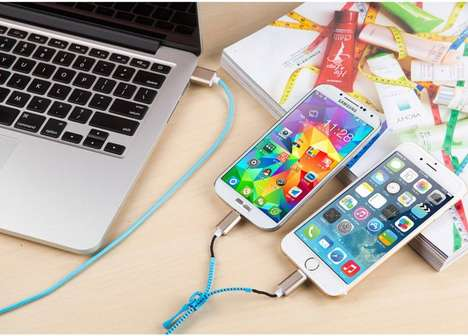 Multi-Device Connector Cables - The FistCase Zipper Data Charging Cable is for Apple and Android