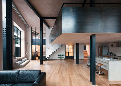 Converted Warehouse Homes - This Home Features a Folded Steel Staircase and an Industrial Interior