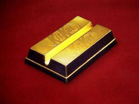 Edible Golden Chocolate Bars - These Precious Metal Kit Kat Bars are Exclusive to Japan
