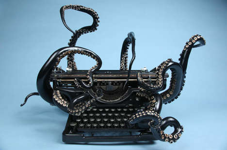 Antiquated Tentacle Typewriters - This Writing Device is Transformed into an Underwater Sculpture