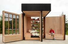 Expandable Lending Libraries - This Pop-Up Library Kiosk Opens Up to Create a Public Reading Space