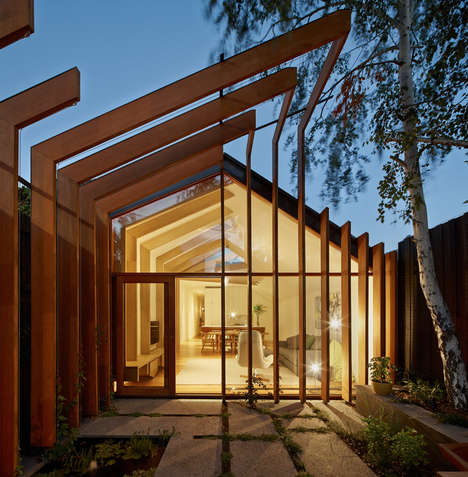 Wooden Cross-Stitch Homes - This Home is Connected by a Series of Timber Beams