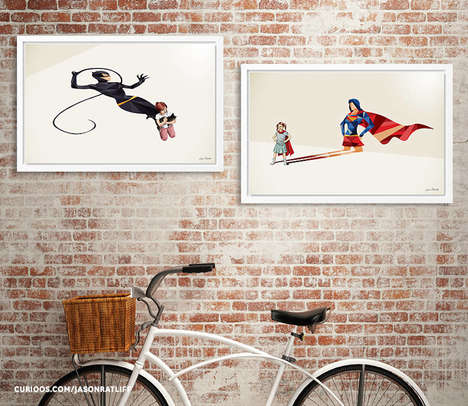 Superhero Shadow Art - This Artist Transforms Children's Shadows Into Geometric Superhero Shadows