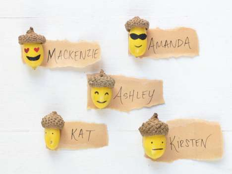 DIY Thanksgiving Place Cards - This Tutorial Involves Turning Acorns into Popular Emojis