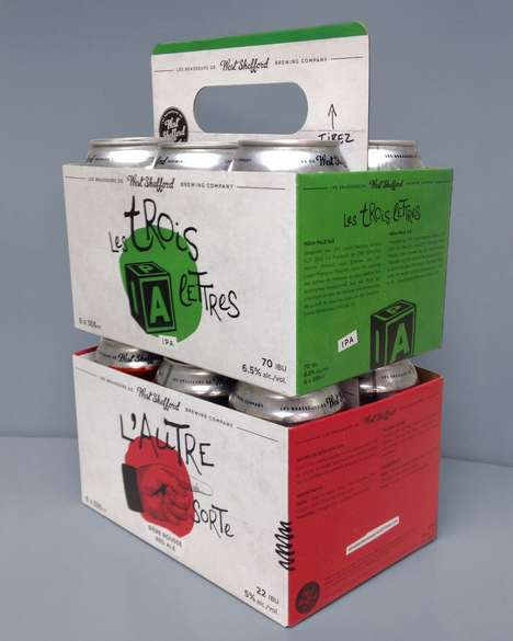 Handy Beer-Carrying Cartons - This Beer Carrier is Equipped with a Pull-Out Handle