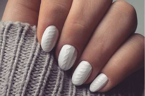 Knitted Nail Art - The Cable Knit Manicure Dresses Your Nails for a Cozy Winter