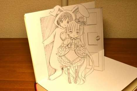 Pop-Up Manga Comics - These Drawings for the Gosick Novel Showcase Accompanying 3D Drawings
