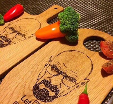 Crime-Themed Chopping Boards - This Breaking Bad Cutting Block Design Has an Engraving of Heisenberg
