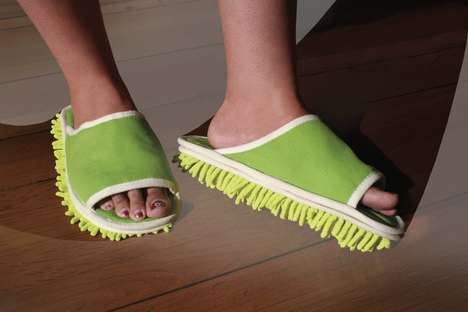 Floor-Dusting Footwear - These Microfiber Cleaning Slippers Make Floor Sweeping a Task of the Past