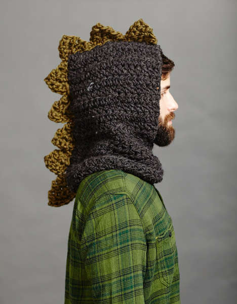 Prehistoric Crochet Hoods - This Men's Dinosaur Hoodie is Fashioned to Look Like a Ferocious Beast