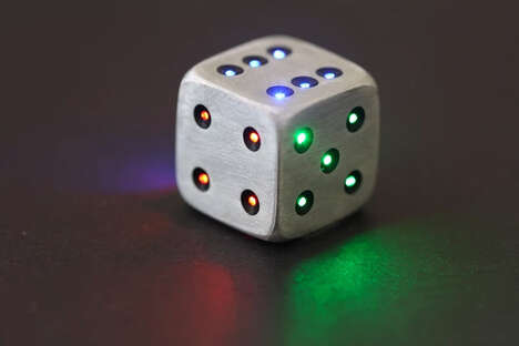 Illuminating Technicolor Dice - The Luma Dice Design is Made of Metal With LED Pips