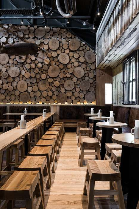 Forestry Wall Installations - The Design of the Munich Brauhaus Panels are Inspired by Tree Groves