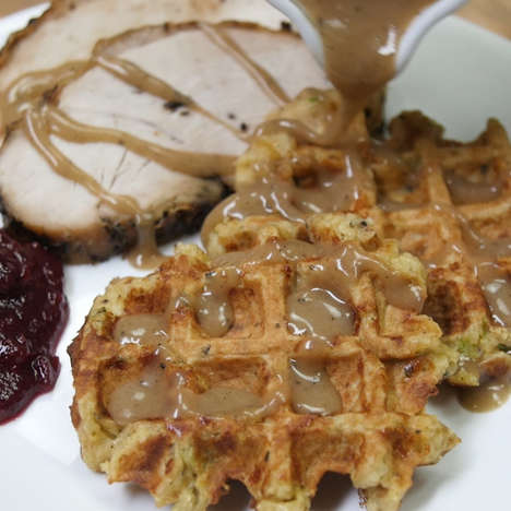 Leftover Dinner Waffles - This Modern Waffle Recipe Turns Thanksgiving Dinner into Breakfast