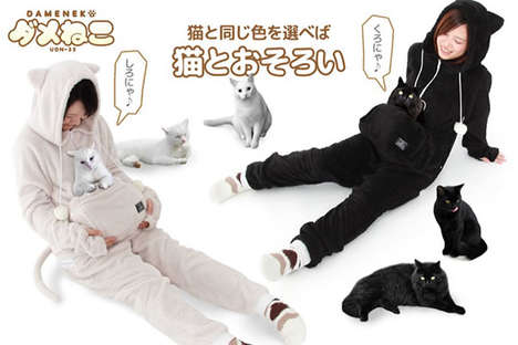 Cat Pouch Pajamas - The Meowgaroo Cat Suit Features a Frontal Pocket for Your Feline