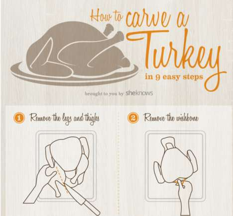 Festive Turkey Carving Guides - This Holiday Chart Shares Tips and Tricks to Carving a Bird