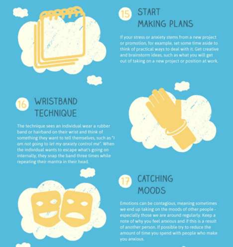 Stress-Free Technique Guides - This Infographic Shares 22 Mindful Tips for Overcoming Anxiety