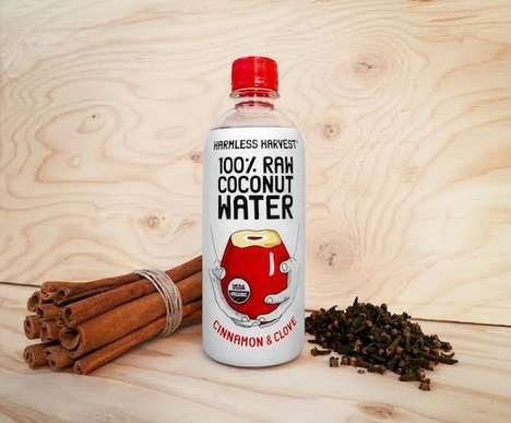 Spiced Coconut Water - This Harmless Harvest Raw Coconut Water is Enhanced with Cinnamon & Clove