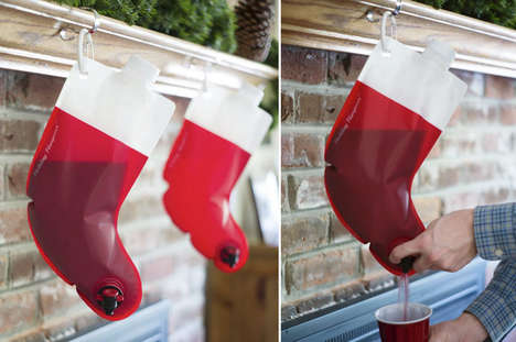 Boozy Stocking Flasks - These Christmas Decoration Designs Creatively Hold a Bottle of Wine