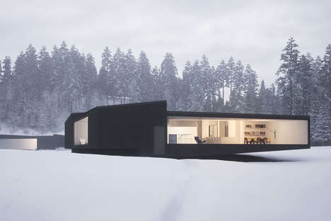 Modular Mirrored Homes - The Geometric Twin Houses by WOJR are Designed to be Carbon Copies