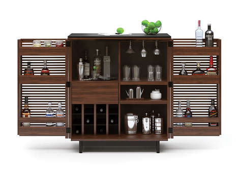 Contemporary Bar Cabinets - The 'Corridor Bar' is a Sleek Shelving Unit for Bar Tools