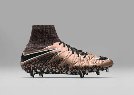 Metallic-Colored Soccer Boots - The Nike Football Liquid Chrome Shoes Feature Fluid Styling