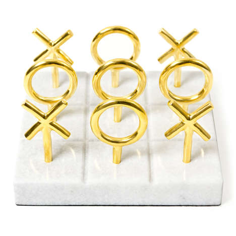 Brass Puzzle Sets - This Lush Tic Tac Toe Set Gives the Classic Game a Swank New Look