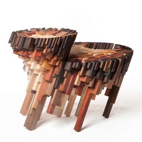 Fragmented Wooden Tables - The Yard Sale Project Offers Moveables Made from Slanted Wood Beams