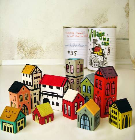 Canned Minuscule Village Models - David Hochbaum Creates Little Towns from Repurposed Wood