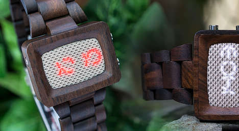 Cryptic Typography Timepieces - The Kisai Xtal Wood Link LED Bluetooth Watch is Secretively Chic