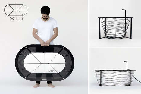 Collapsible Bathtubs - The 'XTEND' Portable Bathtub by Carina Deuschl is Impossibly Thin in Design