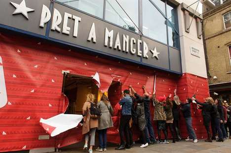 Store-Unwrapping Stunts - This Pret A Manger Stunt Generated Publicity for Christmas Sandwich Range