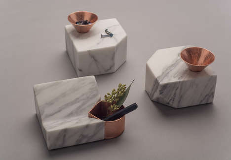 Handcrafted Marble Desk Accessories - The Peca Santa Clara Collection is Made of Marble and Copper