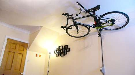 Ceiling Bicycle Racks - The Stowaway Lets You Store Your Bicycle Against the Ceiling