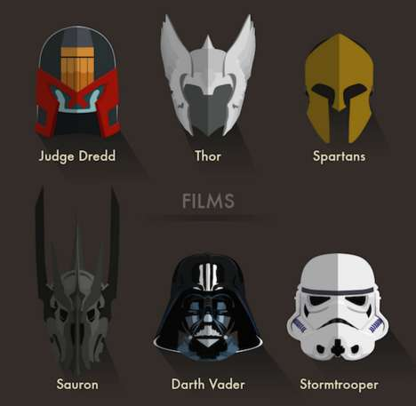 Iconic Character Helmet Guides - This Infographic Lists the Most Popular Armors Worn in Pop Culture