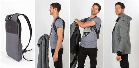 Undetectable Laptop Bags - The Under-The-Jack Pack is a Computer Backpack that Fits Under Coats