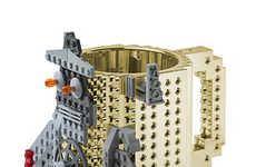 Metallic Building Block Mugs - This Coffee Cup Design Uses LEGO Bricks for Nostalgic Customization