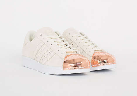 Embellished Golden Sneakers - These Adidas Superstar Sneakers Feature a Sleek Rose Gold Toe
