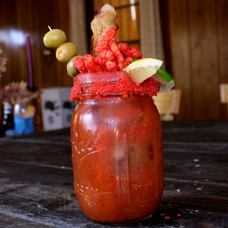 Puffed Snack Tomato Cocktails - This Bloody Mary Drink is Enhanced in Spice with Flamin' Hot Cheetos