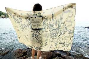 This Harry Potter Scarf Features a Whimsical Illustration of Hogwarts