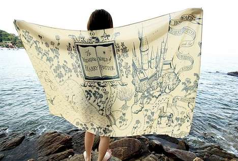 Oversized Map Scarves - This Harry Potter Scarf Features a Whimsical Illustration of Hogwarts