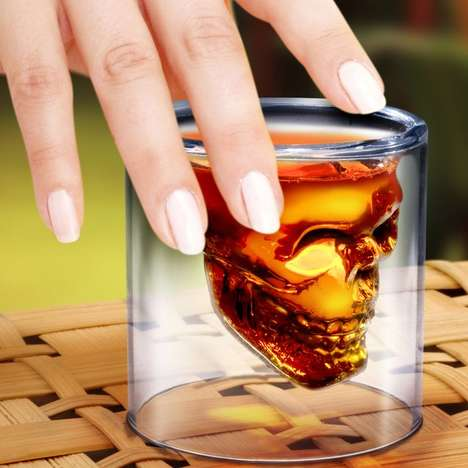 Skull Shot Glasses - This Luxe Drinking Glass Design Fills With Liquid Inside a Skeleton Design