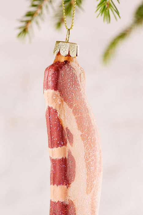 Realistic Bacon Ornaments - This Christmas Tree Decoration Looks Like a Piece of Fried Meat