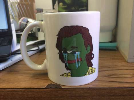 Heartthrob Meme Mugs - This Comedic Coffee Cup Displays a Harry Styles and Pepe the Frog Mashup