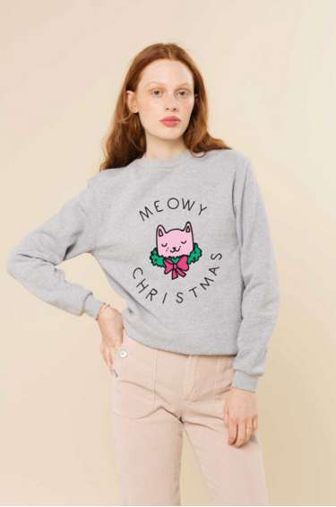 Punny Christmas Crewnecks - This Festive Feline Sweatshirt Makes a Pun on Seasons Greetings