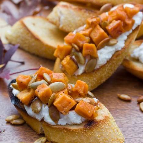 Cheesy Sweet Potato Appetizers - This Festive Bruschetta Recipe is Perfect for Holiday Parties