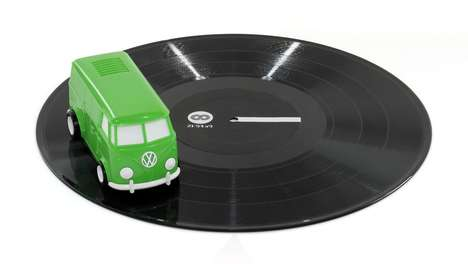 Portable Miniature Record Players - The Record Runner Vinyl Player Looks Like a Volkswagen Van