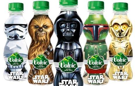 Galactic Character Water Bottles - Spring Water Brand Volvic Features Star Wars-Themed Packaging