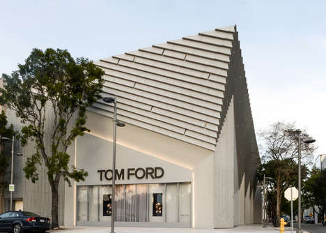 Prismatic Couture Stores - The Miami Tom Ford Location Features a Sleek Pyramid Design Structure