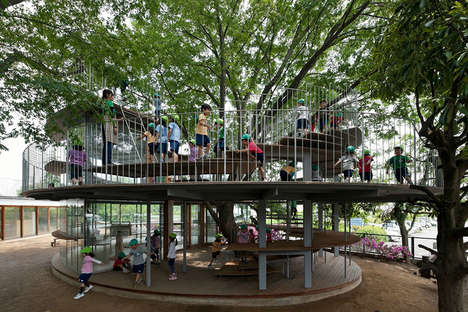 Treetop Kindergarten Classrooms - This Classroom is Build Around an Ancient Tree